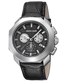 Roberto Cavalli By Franck Muller Men's Swiss Chronograph Black Calfskin Leather Strap Watch, 44mm