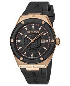 Roberto Cavalli By Franck Muller Men's Swiss Quartz Rose Gold Case Black Rubber Strap Watch, 45mm