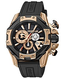 By Franck Muller Men's Swiss Rose Gold Chronograph Black Rubber Strap Watch, 44mm