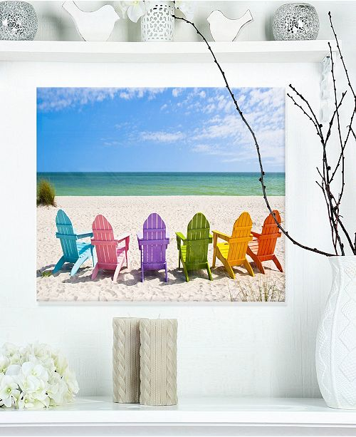 Design Art Designart Adirondack Beach Chairs Seas Photo Metal Wall