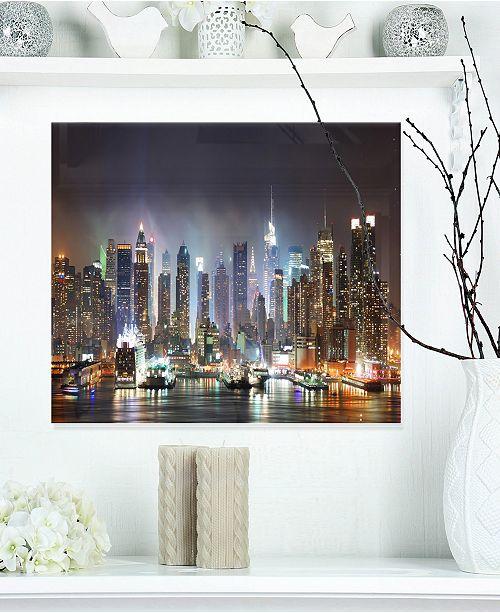 "Design Art Designart 'New York Times Square In Blue Light' Cityscape Metal Wall Art - 20"" X 12"""