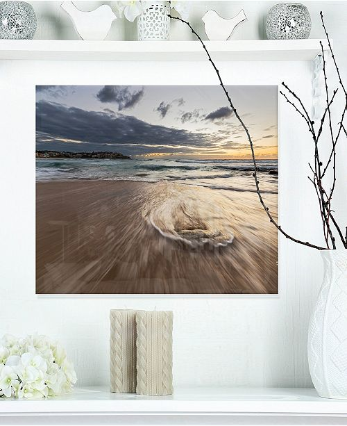 "Design Art Designart 'Morning With Playful Surf And Pleasant Sky' Seashore Metal Wall Art - 20"" X 12"""