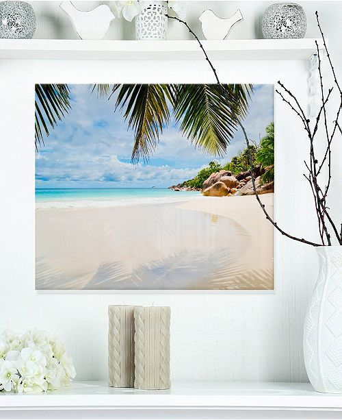 "Design Art Designart 'Summer Beach With Palm Leaves' Modern Seascape Metal Artwork - 20"" X 12"""