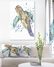 """Designart 'Blue Sea Turtle Illustration' Animal Metal Wall Art - 30"""" X 40"""""""