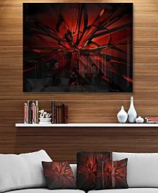 "Designart 'Beautiful Red 3D Crystal Design' Abstract Metal Wall Art - 40"" X 30"""