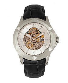Reign Dantes Automatic Silver Case, Genuine Black Leather Watch 47mm
