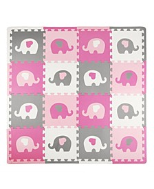 Tadpoles 16 Piece Foam Play Mat Set, Elephants and Hearts