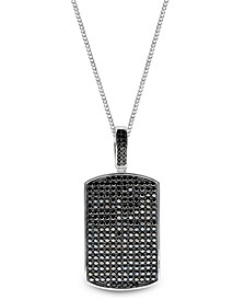 Sutton Sterling Silver Black Cubic Zirconia Dog Tag Pendant Necklace