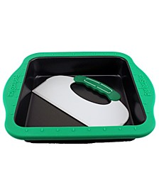 "Perfect Slice 9"" Square Cake Pan with Silicone Sleeve"