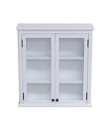 Alaterre Dorset Wall Mounted Bath Storage Cabinet With Glass Cabinet Doors