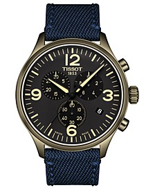 LIMITED EDITION Men's Swiss Chronograph Tissot Chrono XL Blue Fabric Strap Watch 45mm