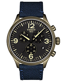LIMITED EDITION Tissot Men's Swiss Chronograph Tissot Chrono XL Blue Fabric Strap Watch 45mm, Created for Macy's