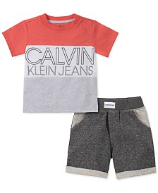 Calvin Klein Baby Boys 2-Pc. Colorblocked T-Shirt & French Terry Shorts Set