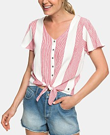 Roxy Juniors' Striped Tie-Front Blouse