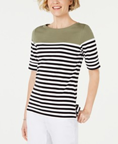 3bffa6964 Karen Scott Striped Elbow-Sleeve Top, Created for Macy's