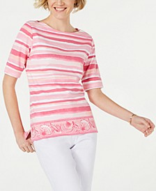 Striped Border-Print Boat-Neck Top, Created for Macy's