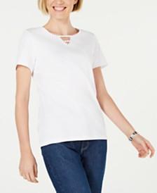 Karen Scott Petite Cotton Studded Keyhole Top, Created for Macy's