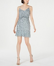 Embellished Blouson Sheath Dress