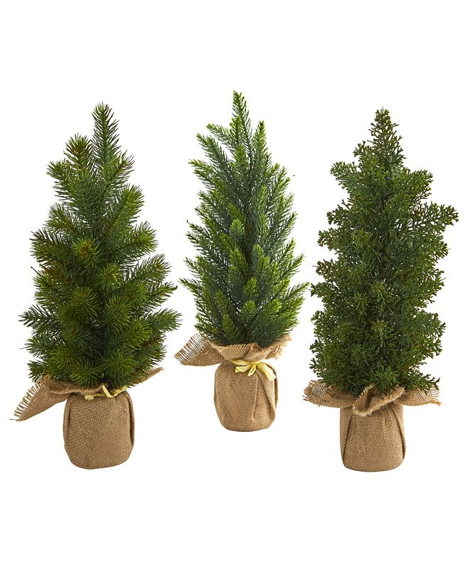 "Nearly Natural 15"" Mini Cypress and Pine Artificial Tree (Set of 3)"