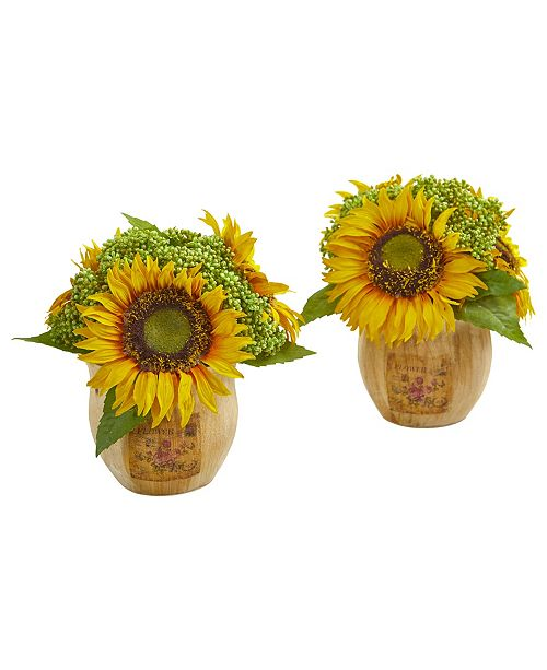 Nearly Natural Sunflower Artificial Arrangement in Decorative Planter (Set of 2)