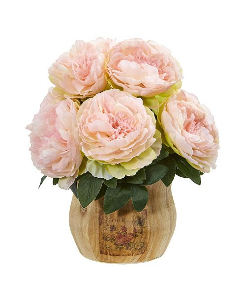 Nearly Natural Peony Artificial Arrangement in Decorative Planter