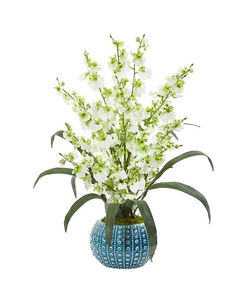 Nearly Natural Dancing Lady Orchid Artificial Arrangement in Blue Vase