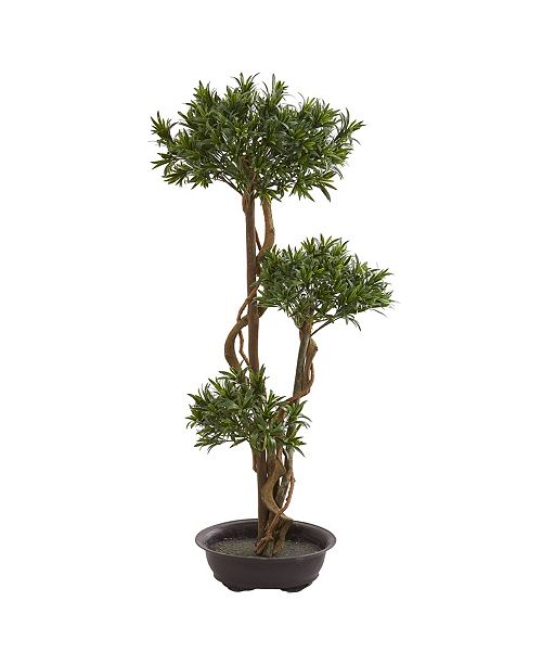 "Nearly Natural 46"" Bonsai Styled Podocarpus Artificial Tree"