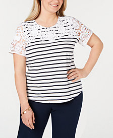 Charter Club Plus Size Striped Embroidered Top, Created for Macy's