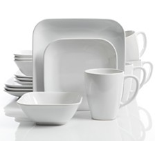 Laurie Gates Square Dance 16-piece White Dinnerware Set