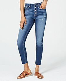 Juniors' Ripped Button-Fly Skinny Jeans, Created for Macy's