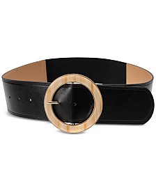 I.N.C. Round Buckle Faux Leather Stretch Belt, Created for Macy's