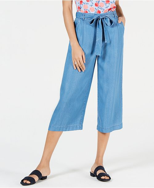 Maison Jules Solid Wide-Leg Tie-Front Capri Pants, Created for Macy's