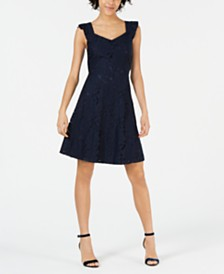 Monteau Petite Lace Fit & Flare Dress