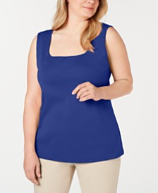 Karen Scott Plus Size Cotton Square-Neck Tank Top, Created for Macy's