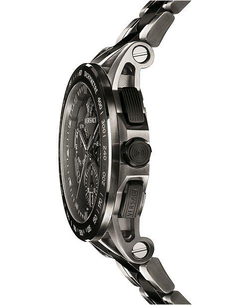 d6d4af0ed51ef ... Versace Men's Swiss Chronograph Sport Tech Black & Silver Ion-Plated  Bracelet Watch 45mm ...