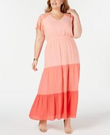 NY Collection Plus & Petite Plus Size Colorblocked Lace Maxi Dress