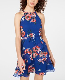 BCX Juniors' Printed Ruffled Fit & Flare Dress