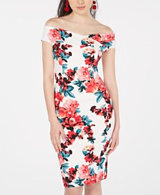 Emerald Sundae Juniors' Printed Off-The-Shoulder Bodycon Dress