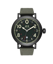 AVI-8 Men's Japanese Quartz Lancaster Bomber Green Leather Strap Watch 43mm