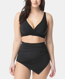 Coco Reef Contours Pavilion Underwire Bikini Top & Contours Peri High-Waist Asymmetric Sarong Bikini Bottom