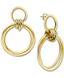 Argento Vivo Circle Drop Earrings in Gold-Plated Sterling Silver