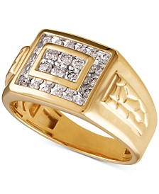 Men's Diamond Cluster Ring (1/2 ct. t.w.) in 10k Gold