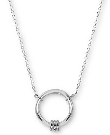 "Argento Vivo Circle Pendant Necklace in Sterling Silver, 16"" + 2"" extender"