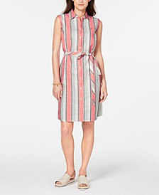 Striped Belted Shirtdress, Created for Macy's