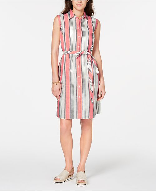Tommy Hilfiger Striped Belted Shirtdress, Created for Macy's