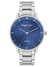 Men's Stainless Steel Bracelet with Diamond Accent Dial, 43MM