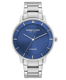 Kenneth Cole New York Men's Stainless Steel Bracelet with Diamond Accent Dial, 43MM