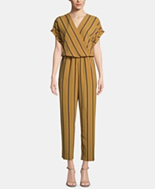 ECI Striped Surplice Ankle Jumpsuit