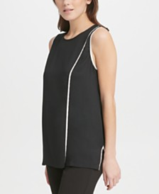 DKNY Contrast-Piping Top
