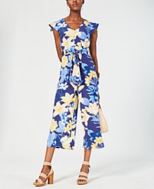 INC Floral Tie-Waist Jumpsuit, Created for Macy's